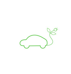 Green electric car with a power outlet vector