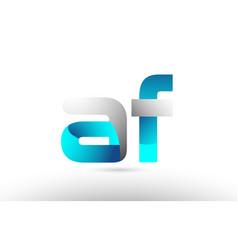 Grey blue alphabet letter af a f logo 3d design vector