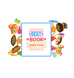 group kids with books reading cute children vector image