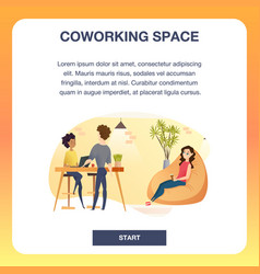Group of freelancer in coworking space banner vector