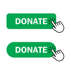 Hand cursor clicks donate button vector
