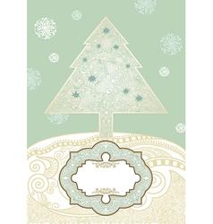 hand draw ornate christmas tree vector image