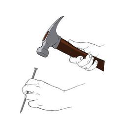 Hand holding hammer vector