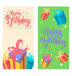 happy birthday set banner templates design vector image