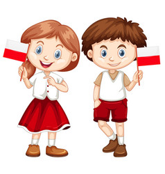Happy boy and girl holding flag of poland vector