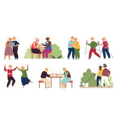 happy elderly activity isolated senior people vector image