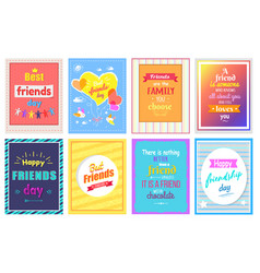 happy friendship day greeting cards colorful set vector image