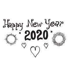 Happy new year 2020 on doodle style hand drawn of vector