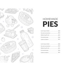 homemade pies menu template bakery and pastry vector image