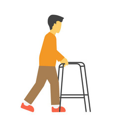 Incapacitated faceless person with metal walkers vector