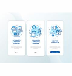 Influencer marketing jobs onboarding mobile app vector
