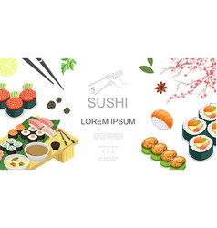 isometric japanese food colorful template vector image