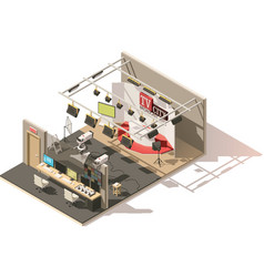 Isometric low poly television studio vector