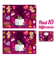 Kids game find ten differences valentine riddle vector