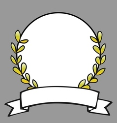 Laurel wreath decorative frame on grey background vector