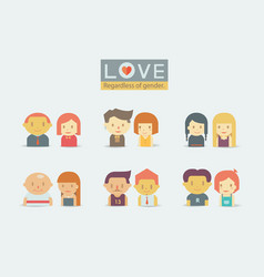 lgbtq love regardless gender man woman vector image