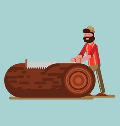 Lumberjack chopping the tree with saw vector