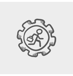 Man running inside the gear sketch icon vector image