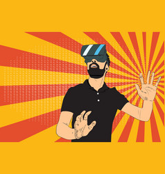 Man with virtual reality glasses vector