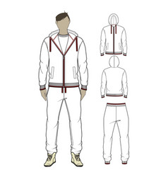 mans zip-through hoodie and sweetpants vector image