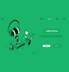 meditation - line design style isometric web vector image