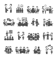 Meeting Icons Black Set vector