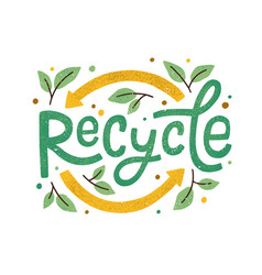 modern eco sticker with recycle sign arrows vector image