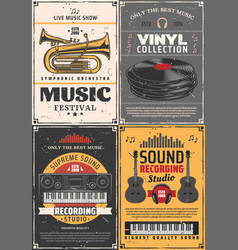 music and musical instruments recording studio vector image