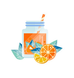 Natural juice with orange and lemon organic fruit vector