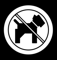 No dogs simple icon black and white vector