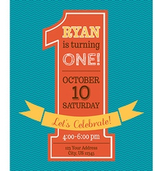 One year Birthday invitation vector