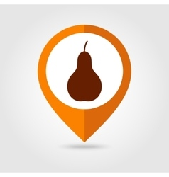 Pear mapping pin icon Harvest Thanksgiving vector image