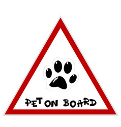 pet on board sign with paw vector image