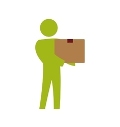 pictogram box delivery action male man silhouette vector image