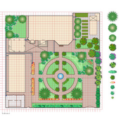 Plan of garden land vector
