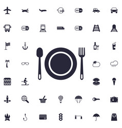 Plate fork and spoon icon vector