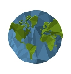 Polygon texture earth globe icon vector