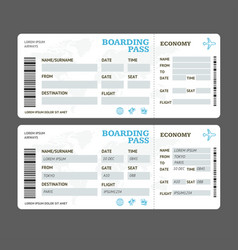 Realistic detailed 3d air tickets template set vector