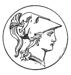 Right minerva head vintage vector