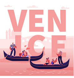 Romantic tour italy venice concept loving couples vector