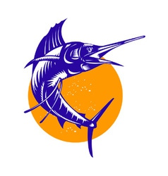 Sailfish Fish Jumping Retro vector