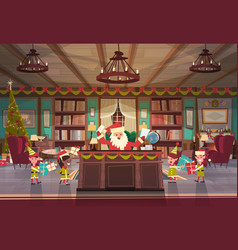 santa claus working with elfs in office room vector image