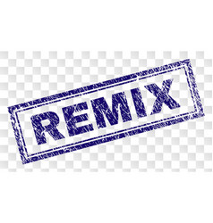 Scratched remix rectangle stamp vector