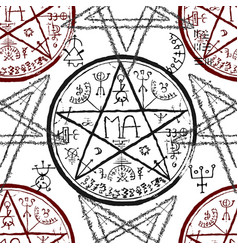 Seamless pattern with pentagram and mystic symbols vector