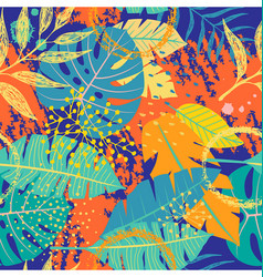 Seamless pattern with tropical leaves and textures vector