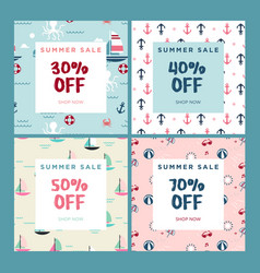 set mobile banners summer sale vector image