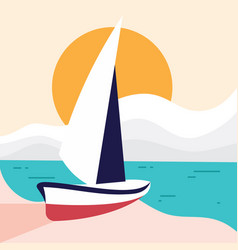 simple beach landscape with sailboat for element vector image