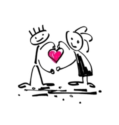 sketch doodle human stick figure couple in love vector image