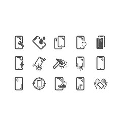 Smartphone protection icons tempered glass vector