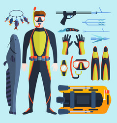 spearfishing set vector image vector image